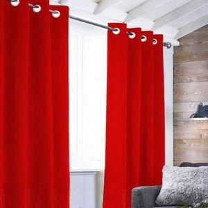 RIDEAU Rideau Velvet à oeillets - 140 x 250 cm - Rouge