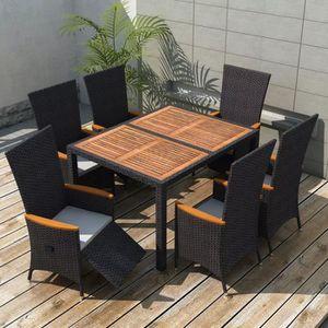 Salon de jardin Mobilier de jardin 13 pcs Noir Bois d\'acacia ...