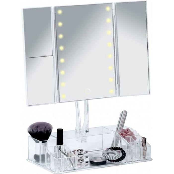 Miroirs - Miroir LED à poser avec organiseur - Fanano 39 cm Blanc