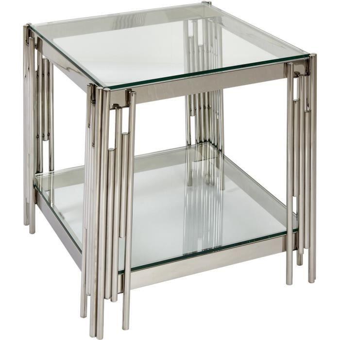 Table d'appoint BELGRAVE Gris - plateau Verre pieds Metal 55 x 55