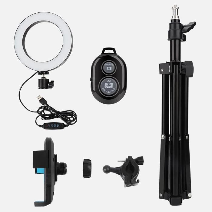 6- Kit LED Anneau Lumière avec Trépied+Support Téléphone+Télécommande pour Maquillage YouTube