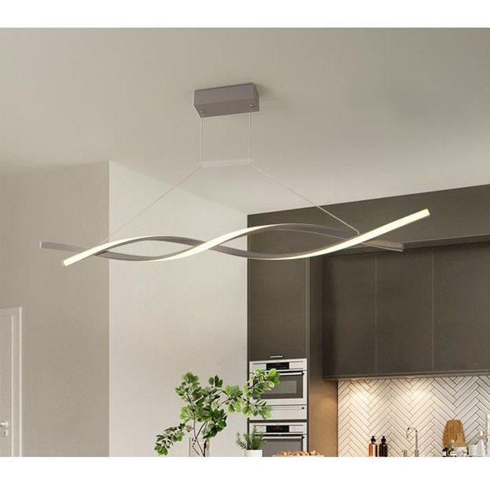 Lustre - suspension LED Spirale Blanc dimming avec télécommande Lustre Led Pendentif en acrylique Lampe moderne Diamètre 120cm