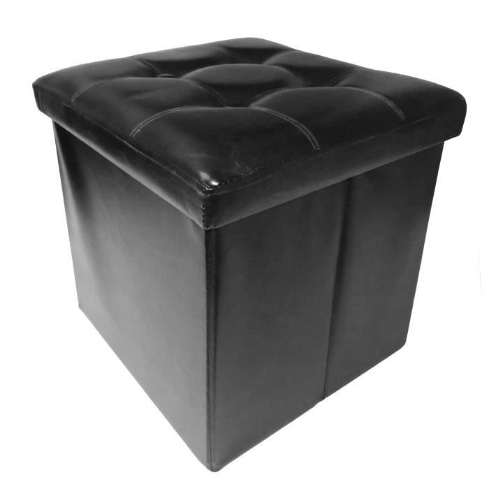 COTTON WOOD Pouf Coffre pliable PU - 38 x 38 x 38 cm - Noir