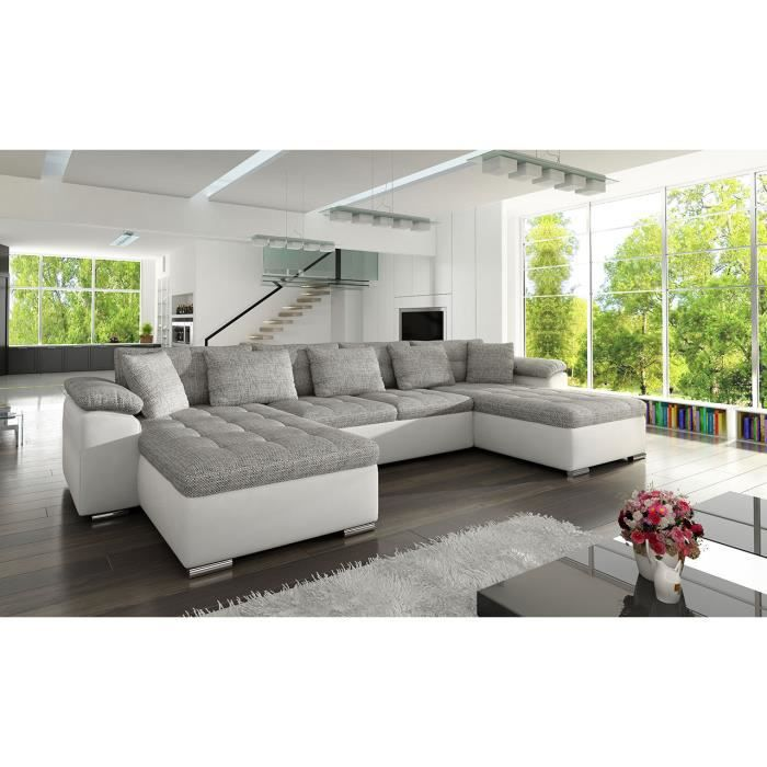 Canapé d'angle panoramique convertible en tissu et PU gris blanc