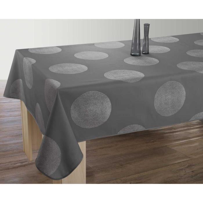 Nappe anti-taches Rectangulaire 150x240 cm - Cercles gris foncé