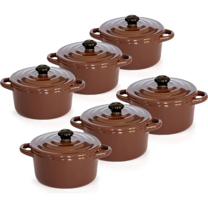 Lot de 6 Minis cocottes double poignées avec couvercle - Marron