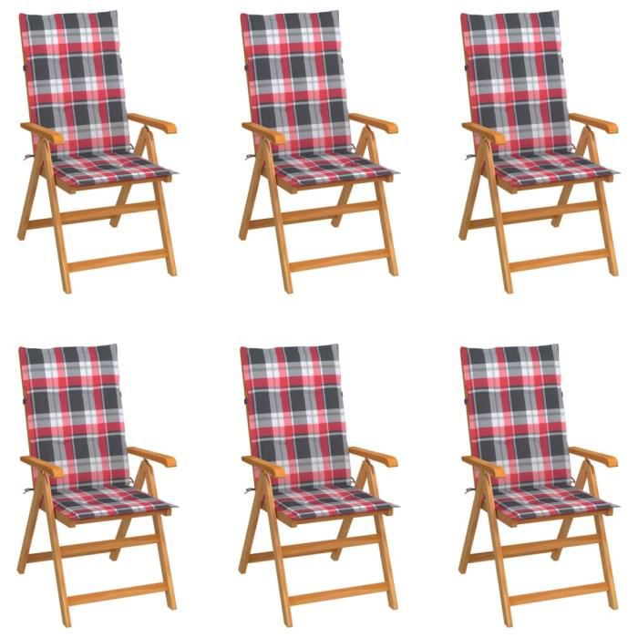 &5583PRIME Pack de 6 Chaises de jardin Fauteuil de jardin de Haute qualité - Chaises d'extérieur avec coussins à carreaux rouge Teck