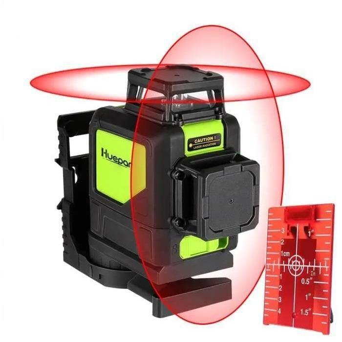 Huepar Niveau Laser Croix 30 m/Laser Rouge Horizontal et Verticale/Grand Angle de 360°/Mode Intérieur et Extérieur/Verrouillable