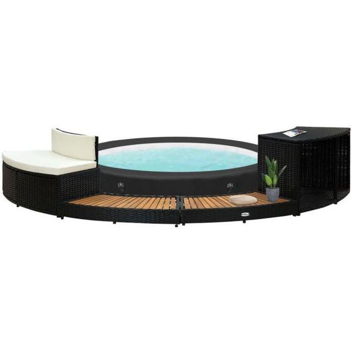 *EXP#9319Ergonomique Cadre de spa Contour de Spa Jardin Extérieur Haute qualité - SPA COMPLET - KIT SPA Noir Résine tressée et bois
