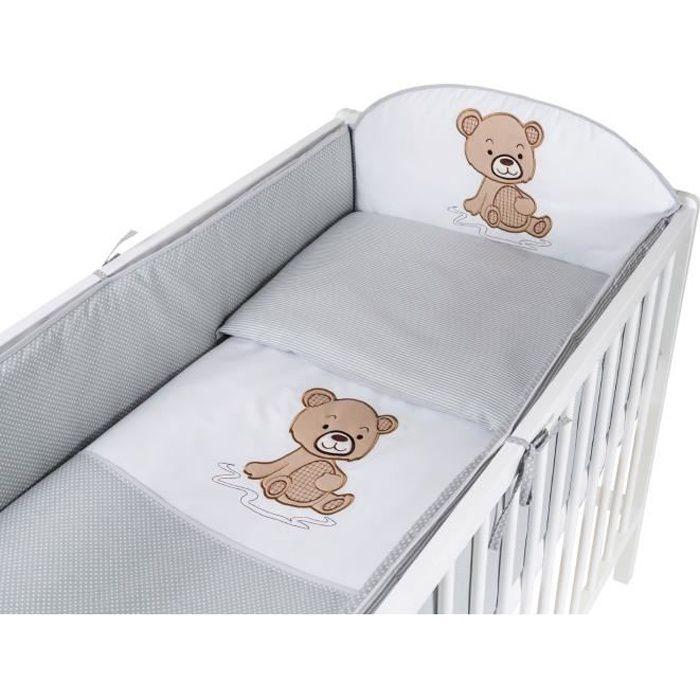 TOMI - Parure pour lit Bébé 60x120 cm -Ourson- - Gris - Housse de couette, taie d'oreiller, tour de lit.