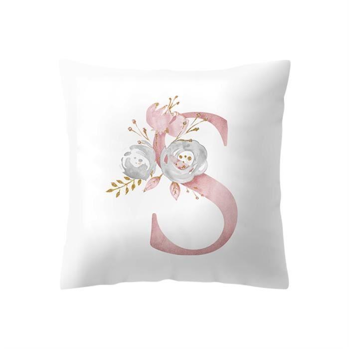 Taie d Oreiller,Taie d'oreiller motif floral Alphabet anglais 45x45cm,Taie d'oreiller en - Type S #B