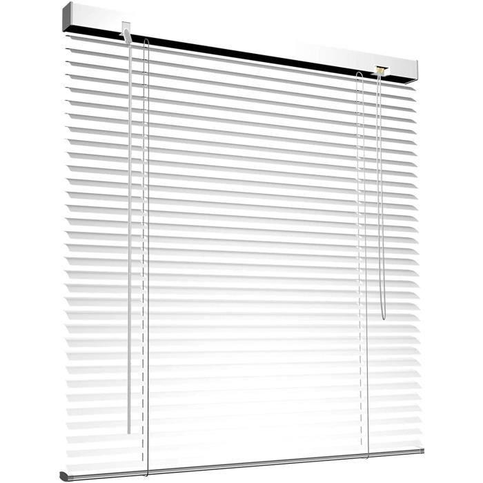 Store vénitien en Aluminium pour fenêtres et Portes - sans pré-perçage, Clips de Serrage Inclus - 45 x 130 cm Blanc