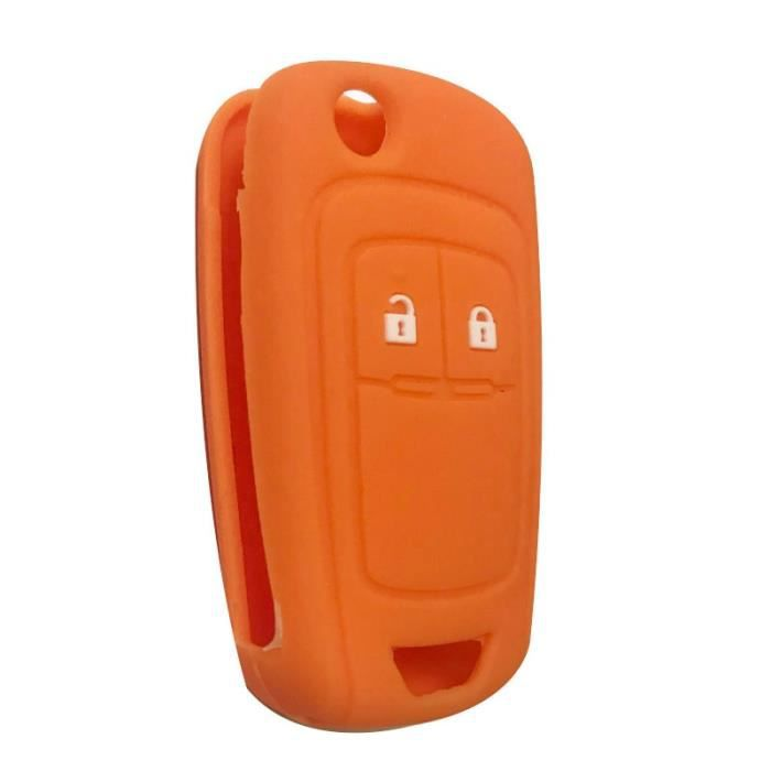 Coque clé,Clé à clé pour Opel Insignia Vauxhall En Silicone, etui à clé pour Buick Regal Lacrosse, Encore Excelle - Type orange