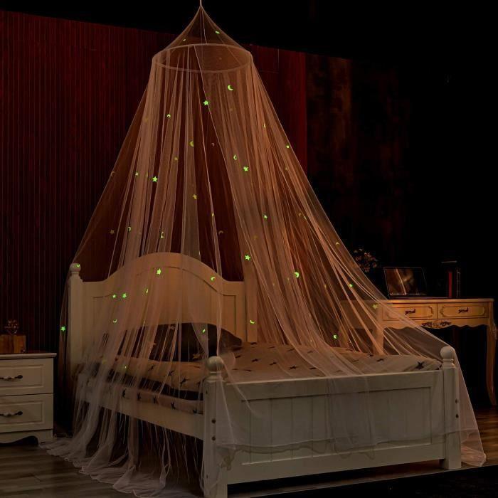 Ciels de lit Blanc avec des Étoiles et des Lunes Fluorescentes Phosphorscentes Moustiquaire de lit à baldaquin Auvent de lit bé 107