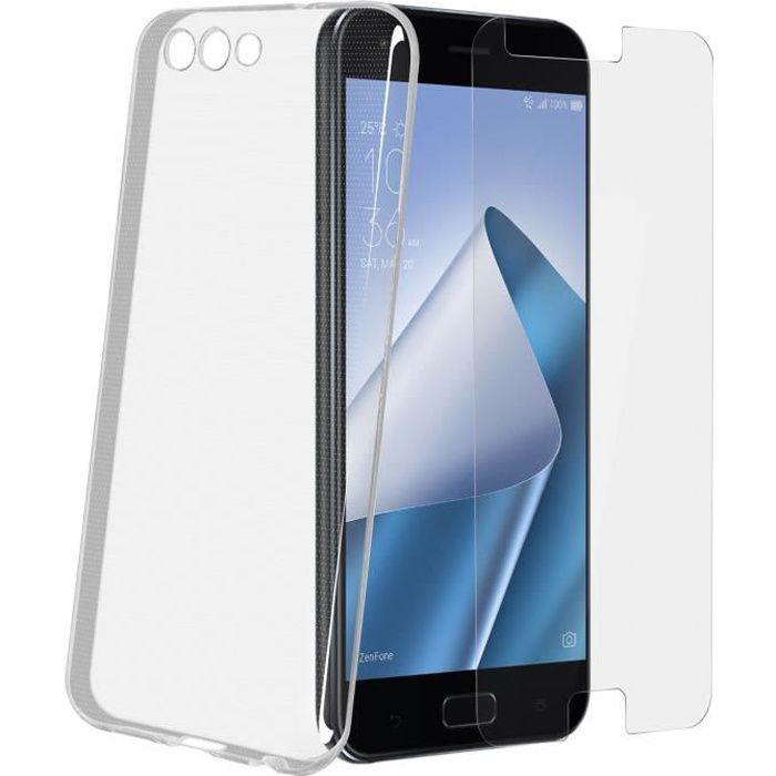 Pack Protection ZenFone 4 ZE554KL Coque transparente + film verre trempé
