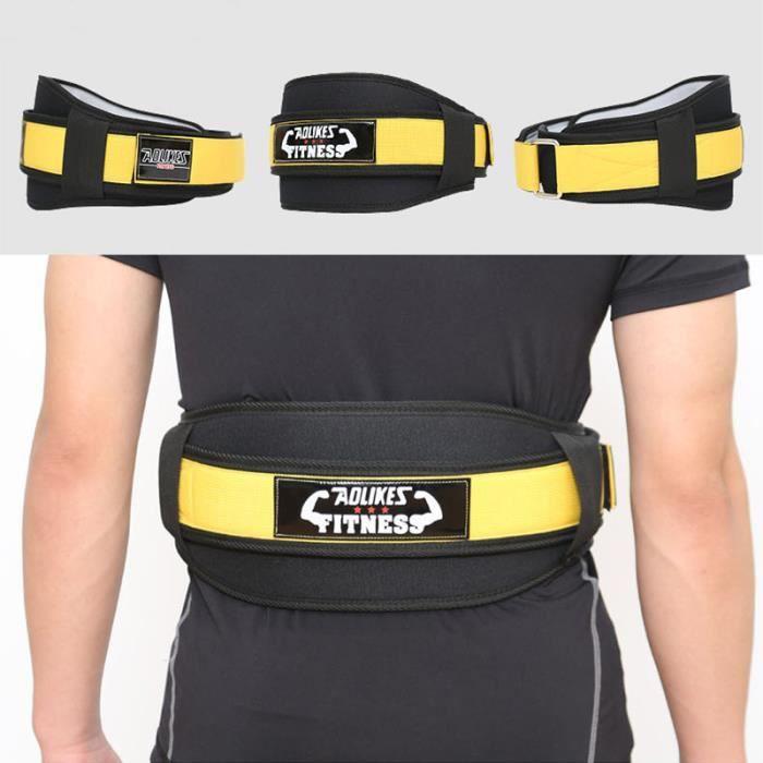 Ceinture de Force Musculation Fitness Ceinture Bodybuilding Haltérophilie Entraînement Squats Support lombaire Sanda Jaune XL