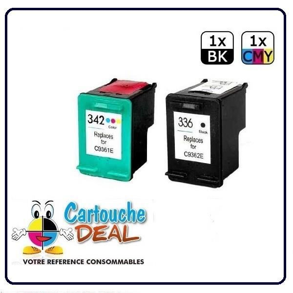 HP 336 - HP 342 - HP Deskjet 5400 Series 5440 5440 PSC 1500 1510 1510S 1513 1545 3180 Lot 2 cartouches compatible HP336 HP342