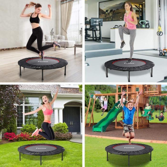 Femor 40 -Mini Trampoline de fitness pliable Yoga aérobie à domicile Ø 102 cm élastiques Bungee Utilisation intérieure extérieure 1