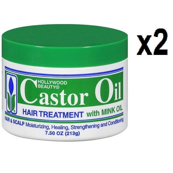 HOLLYWOOD BEAUTY Lot de 2 Castor Oil Hair Treatment 213 g,soin capillaire