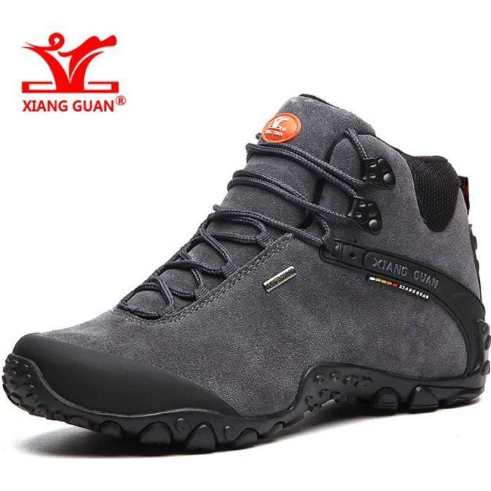 XIANG GUAN Field Chaussures de Marche Homme Etanche Randonnée Suede Durable - Pointure:39-48 - Gris