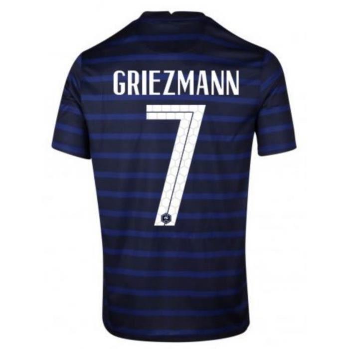 Nouveau Maillot Officiel de Football Enfant Nike France Domicile Euro 2020 Flocage Officiel Numéro 7 Griezmann