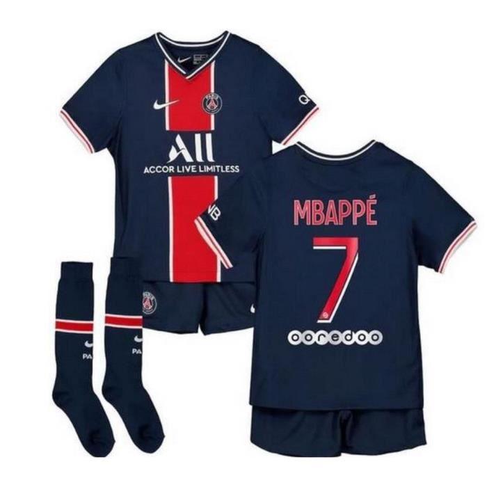 Nouveau Mini-Kit Officiel Enfant Nike PSG Paris Saint-Germain Domicile Saison 2020-2021 Flocage Officiel Numéro 7 Mbappé