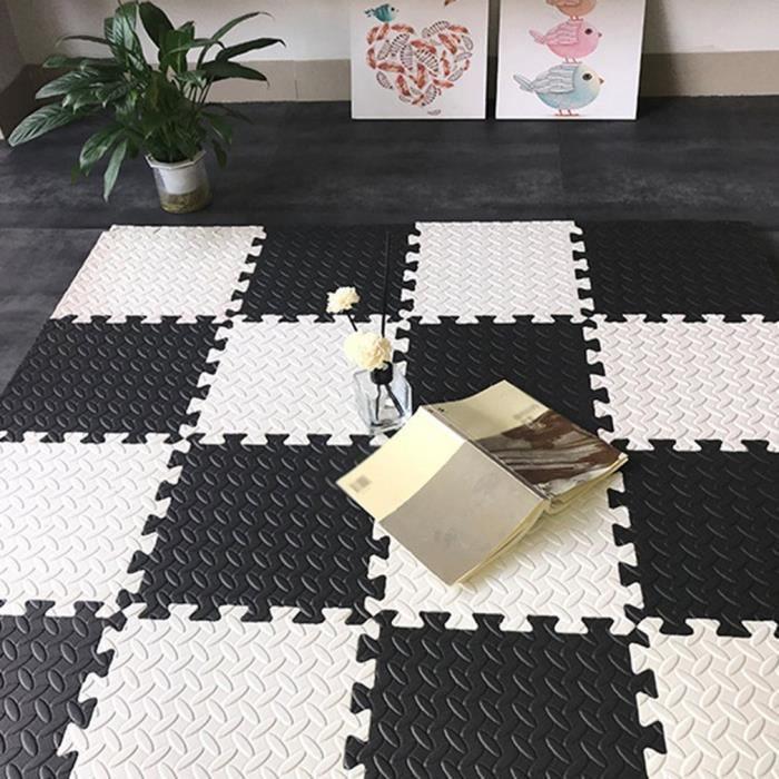 16 pcs Dalle EVA Tapis de sol salon chambre tapis en mousse pour bébé rampant tapis de couture antidérapant - 30*30*1cm