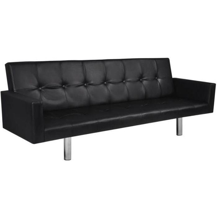 Canapé-lit avec accoudoir Cuir synthétique Noir Canapé-lit Canapé convertible Canapé d'angle