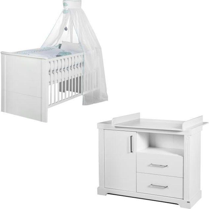 ROBA Ensemble de meubles bébé -Maxi-, lit bébé évolutif 70x140 cm + grande commode à langer (blanc)