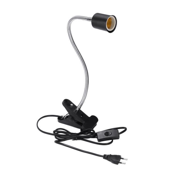 TEMPSA E27 40CM Lampe Pince Flexible Douille 360 ° Tête Céramique Pr Reptile EU PRISE NOIR