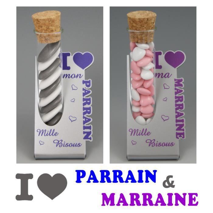 BOÎTE À DRAGÉES 2 Soliflores : 1 Parrain & 1 Marraine - Cadeau Bap
