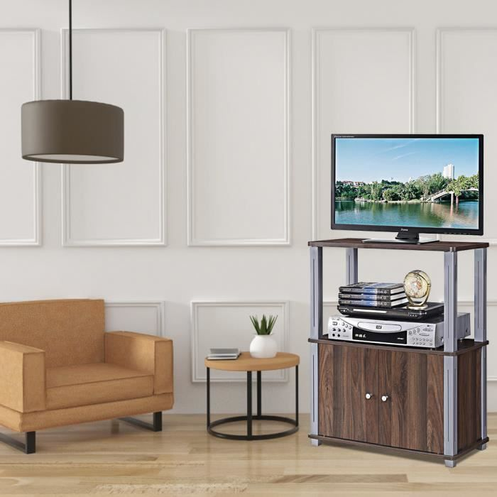Meuble Tv Avec Compartiments En Bois Armoire De Rangement Pour Salon Salle A Manger Chambre 60 X 29 5 X 80 Cm Bois Marron