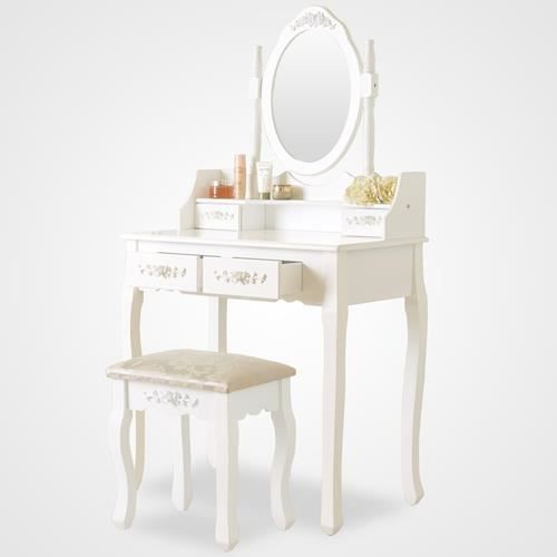 Coiffeuse table de maquillage blanche avec tabouret 4 for Table de bureau blanche