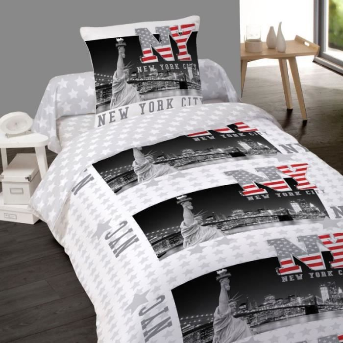 housse de couette new york freedom 140 x 200 1 taie coton achat vente housse de couette. Black Bedroom Furniture Sets. Home Design Ideas
