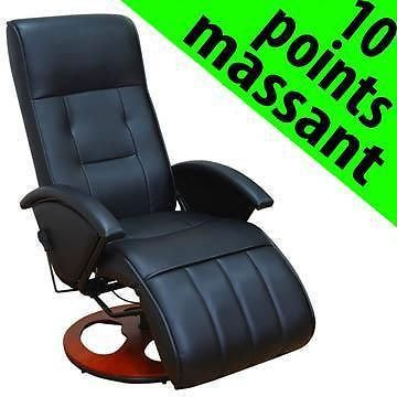 fauteuil massant 10 points chauffant noir achat vente fauteuil polyur thane cuir textile. Black Bedroom Furniture Sets. Home Design Ideas