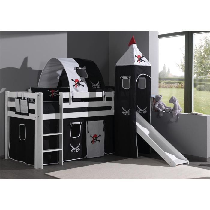 forrest lit enfant sur lev toboggan 90x200cm achat vente lit mezzanine forrest lit avec. Black Bedroom Furniture Sets. Home Design Ideas