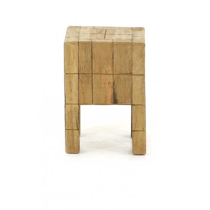 tabouret carr bois recycl noldor achat vente tabouret cdiscount. Black Bedroom Furniture Sets. Home Design Ideas