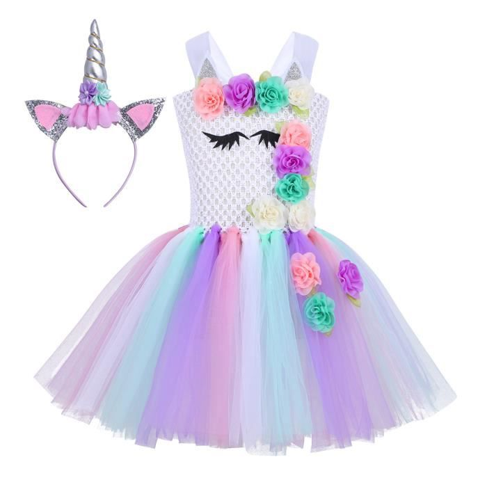 f56fb9e1c11 Robe de danse Fille Ballet - Robe Princesse Courte Licorne Noël Carnaval  Satin Tutu Costume Party Coloré 3D Fleurs performance scène