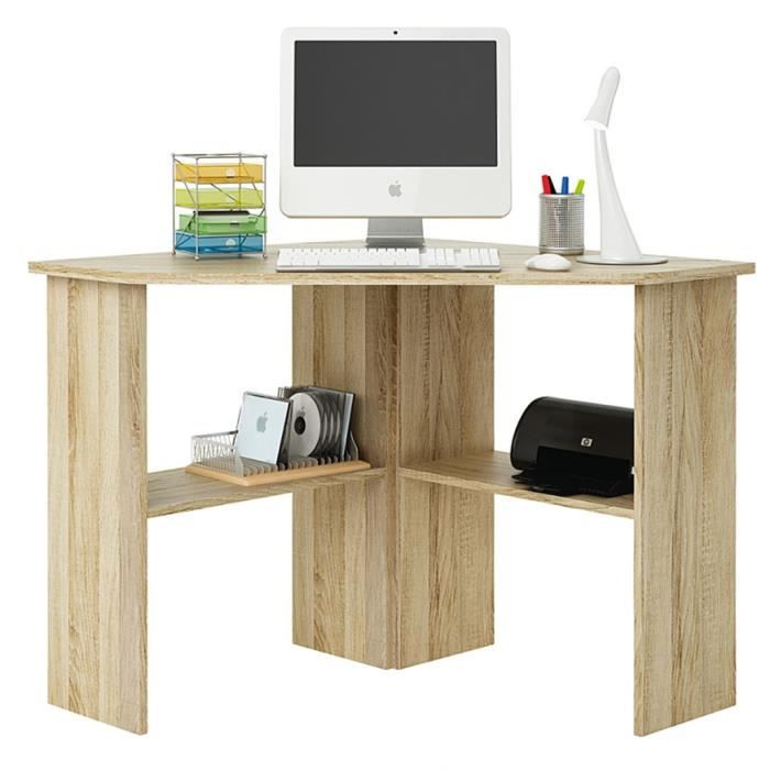 bureau informatique d 39 angle en ch ne bross h 74 x l 85 x. Black Bedroom Furniture Sets. Home Design Ideas