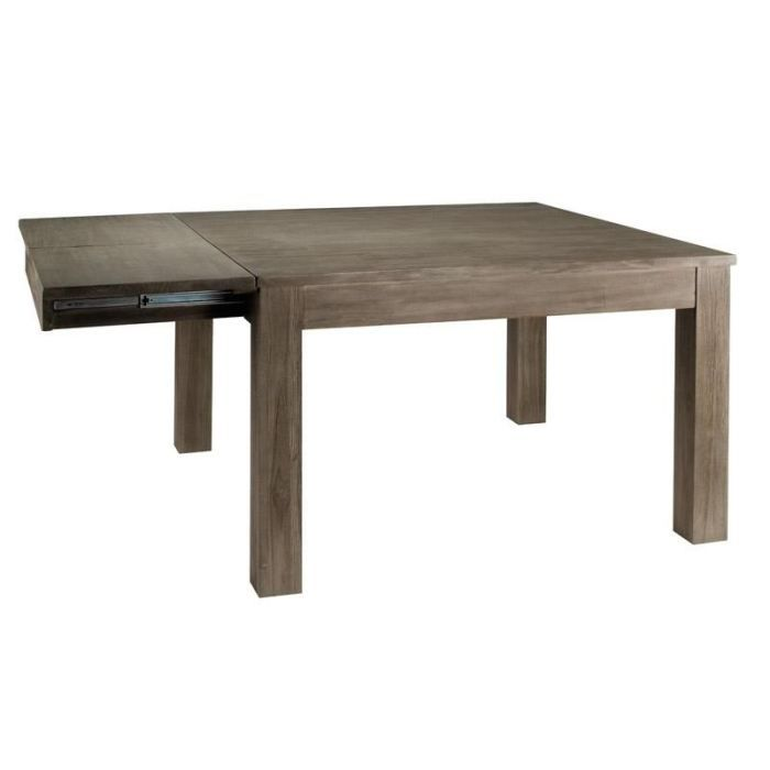 Table carr e manger teck gris rallonge 120x achat for Table a manger carree