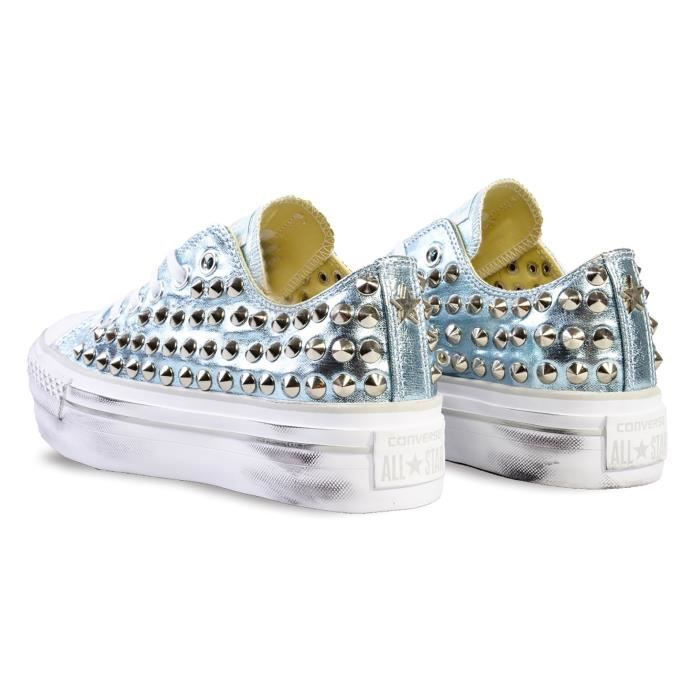 CONVERSE FEMME PL05FUNO0200 ARGENT CUIR BASKETS