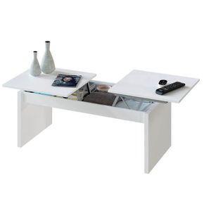 TABLE BASSE Table basse relevable 2 plateaux - Blanc - L 102 x