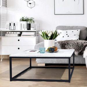 TABLE BASSE FACTO Table basse carré - Décor marbre et noir - L