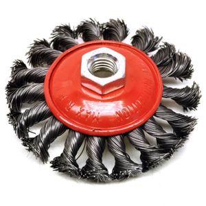 """4/"""" Steel Wire Wheel Tasse Brosse pour meuleuse d/'angle Twisted métaux ondulés Brosse métallique"""