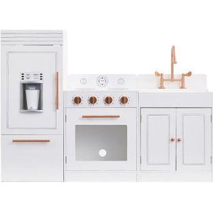 DINETTE - CUISINE Grande cuisine de jeu blanc rose doré en bois pour