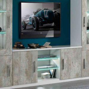 MEUBLE TV Meuble TV 2 portes Blanc/Béton à LEDS - RAIMA - Gr