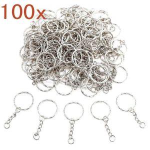 PORTE-CLÉS 100 x Porte-clés métal Fendu 25mm avec chaînette +