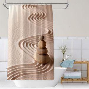 RIDEAU DE DOUCHE Rideau de douche ZEN Pierres dans le désert anneau