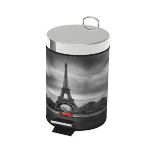 POUBELLE - CORBEILLE Poubelle à pédale en métal Décor Paris - Dim : 17x