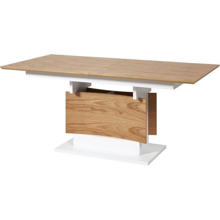 Table de repas extensible CARLO Beige et Blanc - plateau Bois pieds Bois 180 x 90